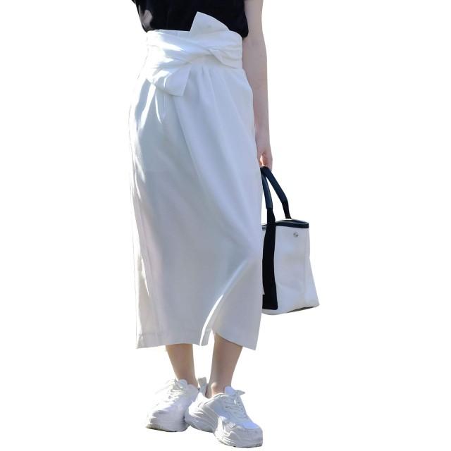 [アンドジェイ] リネン風 ウエスト リボン ミモレ丈 スカート (4325) M ホワイト