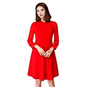 [sweet bell] パーティードレス 結婚式 お呼ばれ 袖あり ドレス ワンピース レディース きれいめ レッド 赤 Sサイズ