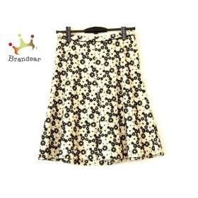 ハロッズ HARRODS スカート サイズ1 S レディース 美品 黒×アイボリー 花柄/刺繍 新着 20190809