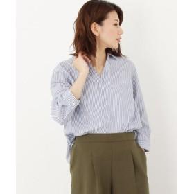 (HusHusH/ハッシュアッシュ)ストライプスキッパーシャツ(七分袖)/レディース サックス(290)
