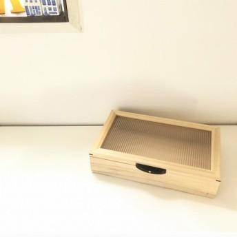 木製ジュエリーボックス/桐・和ガラス調