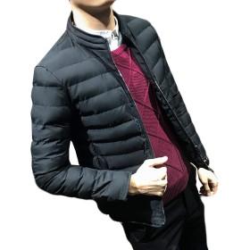 Alhyla メンズ ダウンジャケット ダウンコート アウター トップス 中綿コート 長袖 韓国風 スリム 着痩せ 無地 ショート丈 ジャケットブラックbs4