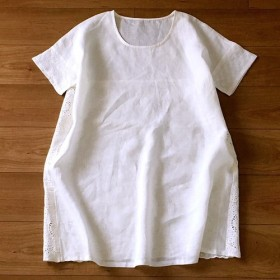 新作贅沢な刺繍地とリネン100%無地良いバランスの大人半袖tチュニック♪