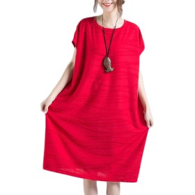 ZhongJue(ジュージェン)レディース ひざ丈 ワンピース 無地 シンプル 半袖 ゆったり チュニック 夏 カジュアル シンプル 韓国風 ファッション ワンピース(FREESIZEレッド)
