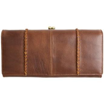 [MIRACOLO] がま口財布 レディース 本革 長財布 大容量 がまぐち イタリアンレザー 財布 牛革 小銭入れ カード入れ ひも付き ダークブラウン