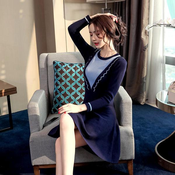 VK精品服飾 韓國風針織時尚毛衣波浪V領撞色長袖洋裝