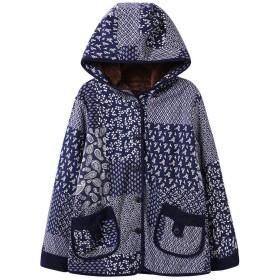 AIMTOPPY レディース 冬プリント フード付き ポケット 暖かいフリース 花柄 ボタンダウンコート ジャケット L ブラック