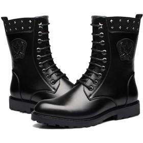 [ジョイジョイ] ミリタリーブーツ メンズ マーティンブーツ 長靴 スタッズ 編み上げ ミドルカット 防寒 滑りにくい 軍靴 ヴィンテージ加工 防水靴 サイドジップ カジュアル 紳士靴 春 ブラック 黒