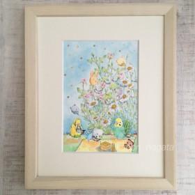 【原画】秋のお花見/セキセイインコ、絵、イラスト、透明水彩