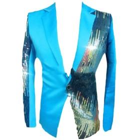 Tootess メンズスリムフィットのスパンコール・ステッチのステージ衣装タキシードブレザーコート Sky Blue S
