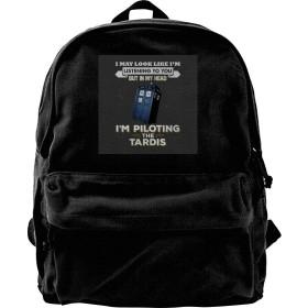 XQSMA Canvas Backpack I May Look Like The Tardis Doctor Who Rucksack Gym Hiking Laptop Shoulder Bag Daypack for Men Women