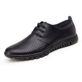 [RSWHYY] シューズ ビジネスシューズ サンダル 皮靴 カジュアルシューズ メンズ 透かし彫り レースアップ 薄い ブラック 1 23.0cm