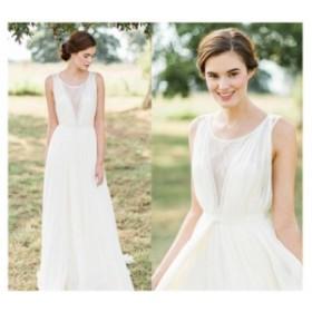エレガント ウェディングドレス パーディードレス 結婚式 花嫁 ブライダルドレス ロング丈ドレス 披露宴 ホワイト プリンセスドレス ステ