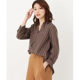 (HusHusH/ハッシュアッシュ)ストライプスキッパーシャツ(七分袖)/レディース ダークブラウン(243)