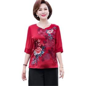 [エージョン] レディース ママ服 半袖 夏 花柄 40-50歳 ゆったり 大きいサイズ エレガント 上品 気質 Tシャツ カットソー 中年 トップス ファッション レッド5XL