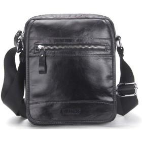 メンズ ショルダーバッグ レザーバッグ 斜め掛け 大容量 カジュアル メッセンジャーバッグ ファッション レザー メンズバッグ (Color : Black)