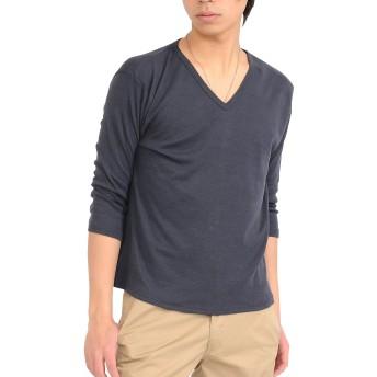 (スペイド) SPADE 七分袖Tシャツ メンズ Vネック Uネック Tシャツ 七分丈 無地 【q922】 (XL, V×チャコールグレー)