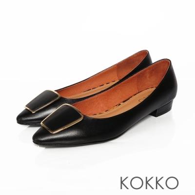 KOKKO  金框方扣復古小跟鞋