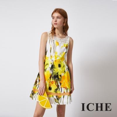 ICHE 衣哲 時尚花卉印花拼接造型禮服洋裝