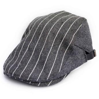 ノーブランド品 ハンチング ウール ストライプ デザインハンチング キャップ 帽子 グレー