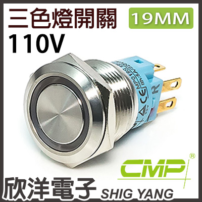 ※ 欣洋電子 ※19mm不鏽鋼金屬平面三色環形燈有段開關 AC110V / S1901B-110RGB 紅綠藍三色光 CMP西普