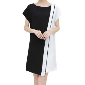 Vonlor ワンピース 半袖 チュニック 黒白 体型カバー レディース 花柄 ドレス リゾートXL