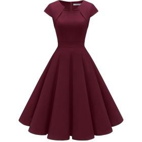 Homrain クリスマス衣装 パーティードレス 50年代 ワンピース カップ袖/7分袖 結婚式 ワンピース おおきいサイズ スイングワンピース ワインレッド XSサイズ