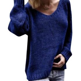 AngelSpace 女性ラウンジリラックスカラフルプリントニットプラスサイズブラウスシャツ Dark Blue 2XL