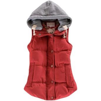 WAWAYA レディースプラスサイズ冬スリムフィットノースリーブ厚パーカーダウンQulitedジャケットコートベスト Wine Red XL