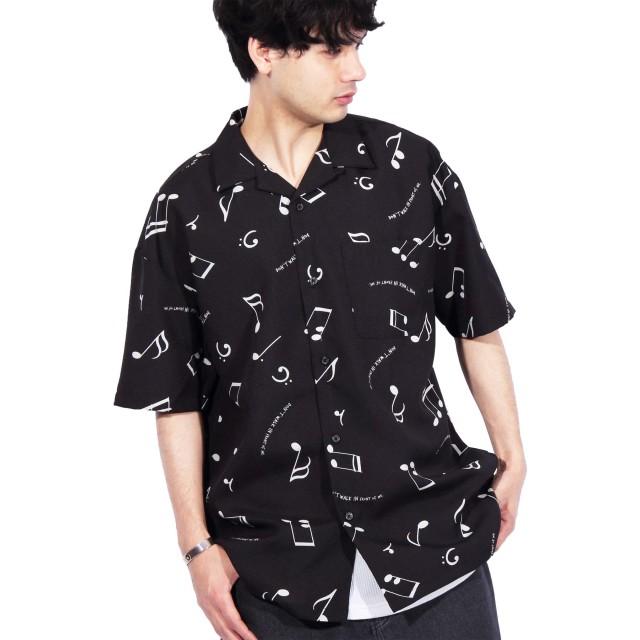 (エイト) 8(eight)総柄シャツ グランジシャツ 開襟シャツブラックM