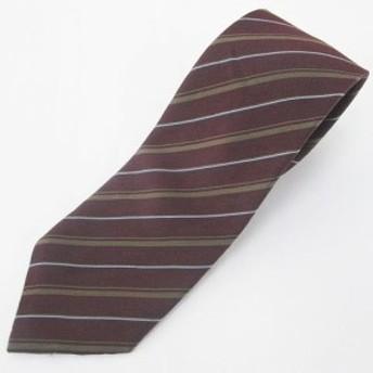 【中古】エーゼット 斜めストライプ柄 シルク 絹 ネクタイ レギュラータイ ボルドー系 ワインレッド 日本製 毛 ウール