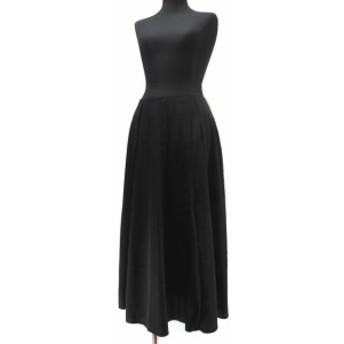 【中古】セドリックシャルリエ CEDRIC CHARLIER サテン タック ロング スカート 42(I) M-L 9~細身の11号 ブラック