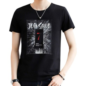 OKJCON tシャツ メンズ 半袖 綿 夏 ゆったり ロゴ プリント おしゃれ おおきいサイズ (ブラック, XXL)