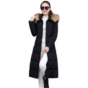 [リュハイ] 冬 レディーズ 大きなサイズ フード付き 厚手 ダウンジャケット コート 膝丈 原宿 防風 防寒 コート ブラックM