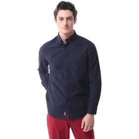 メンズ フランネルシャツ 長袖 カジュアル ワイシャツ 無地 ビジネス 大きいサイズ P-12(S,Blue)
