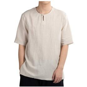 Kenoua Tシャツ 上着 夏服 シャツ カジュアルウェア 男性用夏カジュアルピュアカラーコットンリネン半袖Tシャツトップブラウス ブラウス カジュアルシャツ ワイシャツ 丸首のシャツ