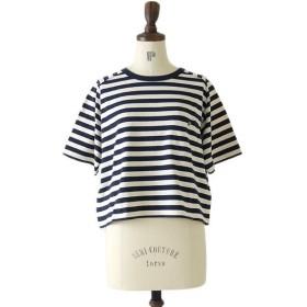 Nigel Cabourn ナイジェルケーボン ポケット付き ボーダー ワイドTシャツ チュニック 80340821007 半袖Tシャツ 日本製 レディース