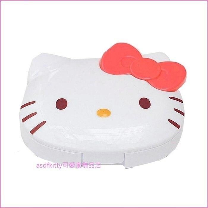 asdfkitty可愛家☆KITTY紅蝴蝶結耳機收納盒/集線盒-可收納耳機 USB充電線-日本正版商品