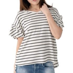 searina Tシャツ レディース 半袖 ゆったり無地ストレッチ素材冷感ひんやりチュニックトップス(ボーダー(ホワイト×ブラック), L) (A93)