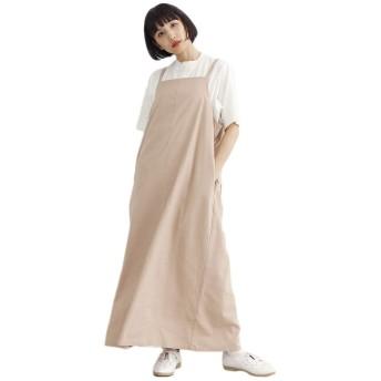 (メルロー) merlot リネンミックスバックリボンジャンパースカート ベージュ
