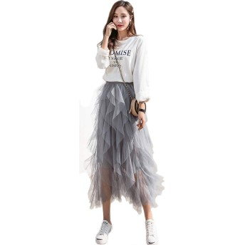 BlouseHouse スカート レデイース チュールスカート ゴムウエスト 不規則 切り替えデザイン ふんわり 美しさ 体型カバー 個性 ファション グレー