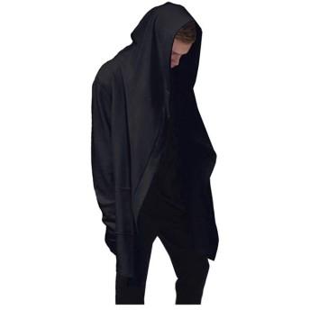 JapHot ロングパーカー メンズ 長袖 マント 黒 フード カーディガン コート マント風 吸血鬼風 ストリート 原宿系 ゆったり シルエット 個性的 大きいサイズ