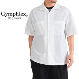 [SALE 20%OFF] GYMPHLEX ジムフレックス コットンポプリン オープンカラーシャツ J-1353 HGL 開襟シャツ 半袖シャツ 無地 メ