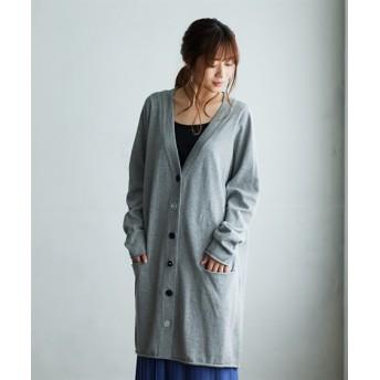 【ゆったりワンサイズ】洗えるUVカット綿100%いろいろボタンロング丈ニットカーディガン (ニット・セーター)(レディース),Knitting