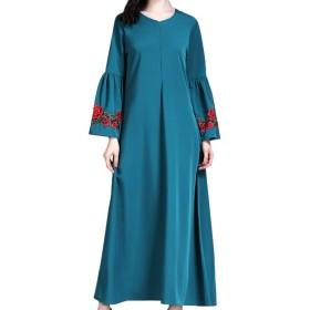 Hzjundasi イスラムドレス スカート アラブローブ ワンピース シンプル 普段着 レディーズ ファション プロム パーティー 中東 長袖 無地