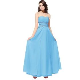 Dresstell ロング丈 結婚式ドレス 披露宴ドレス ベアトップ ビスチェタイプ ブライズメイドドレス 二次会ドレス キラキラビジュー付き シンプルシフォン 編み上げドレス プロム フォーマルドレス ブルー サイズ27w