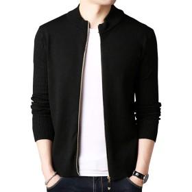 カーディガン メンズ Jake Home 出品 ニットジャケット セーター ジップアップ 長袖 柔かい ストレッチ カッコイイ (ブラック, 2XL)