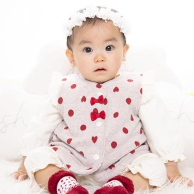 イーベビー(e-baby)/ドットジャガード+ボアフリルベスト