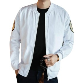 AngelSpace メンズ特大ドラゴンプリント縞襟ボンバージャケット White L