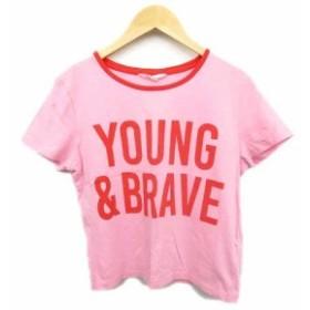 【中古】エイチ&エム H&M Tシャツ カットソー ロゴ プリント パイピング 165 ピンク × 赤 ジュニア 子供/k159 キッズ